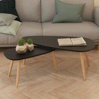 MEUBLES. Couleur : noir  Matériau : pieds en bois de pin massif + dessus de table en MDF  Dimensions de la table la plus grande : 100 x 50 x 40 cm (L