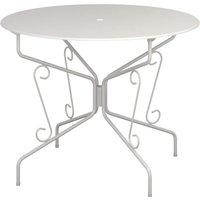 Table de jardin romantique en fer forgé avec trou central pour parasol - 95 cm - Blanc