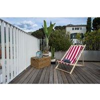 ITALIADOC Chilienne en bois d'hêtre et toile dralon - 3 positions - 58 x 95 x 87 cm - Rayé blanc et rouge