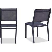 Lot de 2 chaises de jardin en aluminium assise textilène - 48 x 56 x 87 cm - Gris