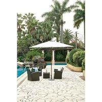 Parasol droit  diamètre 3m - Mât bois rond et polyester 160g/m² - Blanc
