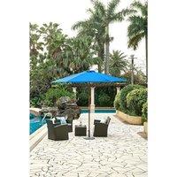 Parasol droit  diamètre 3m - Mât bois rond et polyester 160g/m² - Bleu
