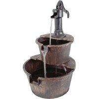 2 Tier Outdoor Barrel Fountain Water Feature