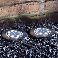 Set of 2 Round Solar Lights with Silver Bezel Deck