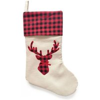 Tartan Reindeer Christmas Stocking 18 Inch - Red Chequered