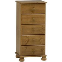 Barnaby Pine Tall Boy Chest Of 5 Drawers