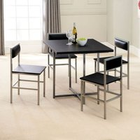Compact 4 Seater Dining Set Black and Silver With 4 Chairs