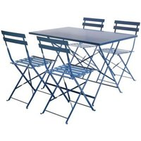 4 Seater Rectangular Folding Metal Dining Set - Navy Grey