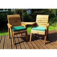 Charles Taylor 2 Seat Companion Angled Garden Bench With Green Cushion