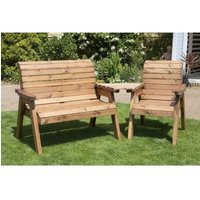 Charles Taylor 3 Seat Set Angled Garden Bench - Green Cushion