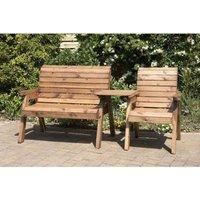 Charles Taylor 3 Seat Set Straight Garden Bench - Burgundy Cushion