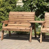 3 Seat Straight Tete-a-tete Companion Love Seat Garden Bench and Table