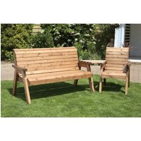 Charles Taylor 4 Seat Set Angled Garden Bench - Green Cushion