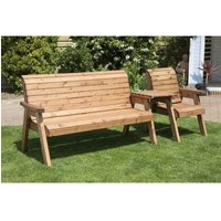 Charles Taylor 4 Seat Set Straight Garden Bench - Green Cushion