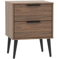 Drayton Bedside Brown 2 Drawers Walnut Style