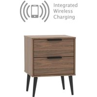 Drayton Bedside Brown 2 Drawers With Wireless Charging