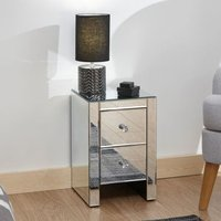 Venetian Slim Bedside Mirrored 2 Drawers