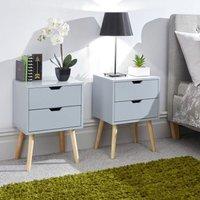 Nyborg Bedside Light Grey 2 Drawers - Set of 2