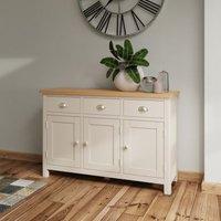 Westbridge Light Oak and Dove Grey 3 Door 3 Drawer Sideboard