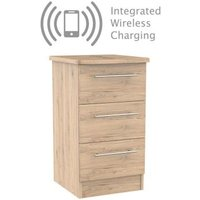 Colby Bedside Brown 3 Drawers With Wireless Charging