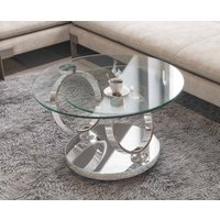 Product photograph showing Eolia Clear Glass And Chrome Swivel Coffee Table