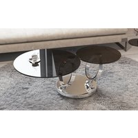 Product photograph showing Eolia Grey Glass And Chrome Swivel Coffee Table