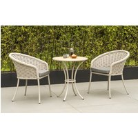 Product photograph showing Alexander Rose Cordial Beige Bistro Table With Roble Top And 2 Armchair