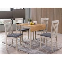 Altona Drop Leaf Extending Dining Table and 4 Chairs - Oak and Stone Grey Painted