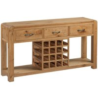 Product photograph showing Capri Oak Sideboard With Wine Rack