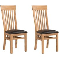 Annaghmore Treviso Oak Dining Chair with Dark Brown Faux Leather Seat Pad (Pair)