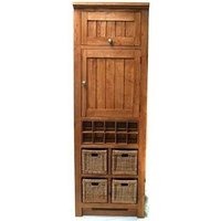 Product photograph showing Evelyn Oak 2 Door Larder With Wine Rack And Baskets