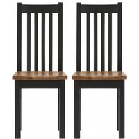 Product photograph showing Vancouver Compact Dining Chair With Timber Seat - Oak And Black Grey Pair