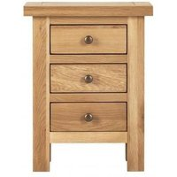 Product photograph showing Vancouver Compact Oak 3 Drawer Bedside Cabinet