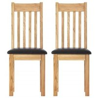 Product photograph showing Vancouver Compact Oak Dining Chair With Bi-cast Leather Seat Pair