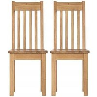 Product photograph showing Vancouver Compact Oak Dining Chair With Timber Seat Pair