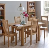 Product photograph showing Vancouver Compact Oak Extending Dining Table And 4 Timber Seat Dining Chairs