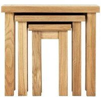 Product photograph showing Vancouver Compact Oak Nest Of 3 Tables