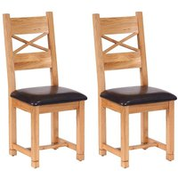 Vancouver Petite Oak Cross Back Dining Chair with Chocolate Leather Seat Pad (Pair)