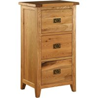 Product photograph showing Vancouver Premium Solid Oak 3 Drawer Filing Cabinet