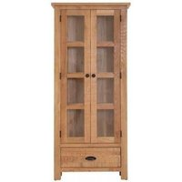Product photograph showing Vancouver Sawn Oak 2 Door 1 Drawer Glazed Display Cabinet