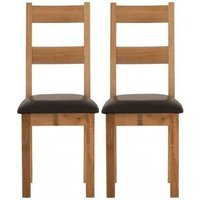 Product photograph showing Vancouver Sawn Oak Dining Chair With Chocolate Leather Seat Pair
