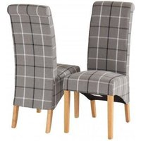 Product photograph showing Vancouver Sawn Oak Grey Tartan Fabric Dining Chair Pair