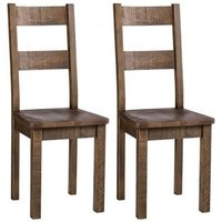 Product photograph showing Vancouver Sawn Old Oak Dining Chair With Timber Seat Pair