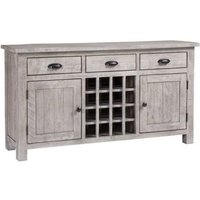 Product photograph showing Vancouver Sawn Grey Washed Oak 2 Door 3 Drawer Sideboard With Wine Rack