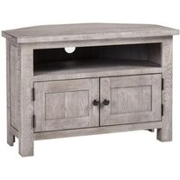 Product photograph showing Vancouver Sawn Grey Washed Oak 2 Door Corner Tv Unit