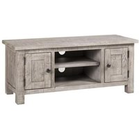 Product photograph showing Vancouver Sawn Grey Washed Oak 2 Door Tv Unit