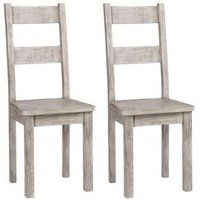 Product photograph showing Vancouver Sawn Grey Washed Oak Dining Chair With Timber Seat Pair