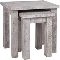 Product photograph showing Vancouver Sawn Grey Washed Oak Nest Of 2 Tables