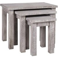 Product photograph showing Vancouver Sawn Grey Washed Oak Nest Of 3 Tables