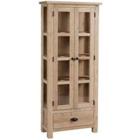 Product photograph showing Vancouver Sawn White Washed Oak 2 Door 1 Drawer Glazed Display Cabinet